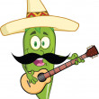 Green Chili Pepper Character With Mexican Hat And Mustache Playing A Guitar — Stock Photo