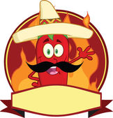 Mexican Chili Pepper Cartoon Mascot Logo — Stock Photo