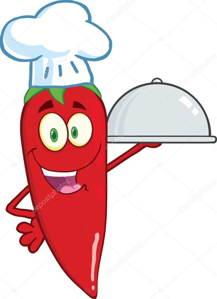 可爱的红辣椒厨师拿着一大盘 图库照片 169 Hittoon#33278833