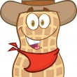 Smiling Peanut Cowboy Cartoon Character — Stock Photo