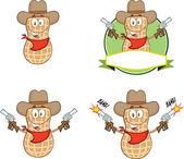 Peanut Cowboy Cartoon Character With Guns Collection Set — Stock Photo