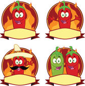 Mexican Chili Peppers Cartoon Labels Collection Set — Stock Photo