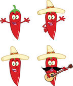 Red Chili Peppers Cartoon Characters 2 Collection Set — Stock Photo
