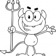 Black and White Cute Little Devil Holding Up A Pitchfork — Stock Photo