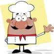 Cute Little African American Chef Character Waving For Greeting — Stock Photo #33655711