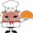 African American Chef Cartoon Character Holding Whole Roast Turkey — Stock Photo