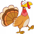 Happy Turkey Cartoon Mascot Character Walking — Stock Photo