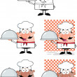 Chef Cartoon Characters 4 Collection Set — Stock Photo
