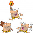 Caveman Cartoon Characters 4 Collection Set — Stock Photo