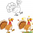 Turkey Cartoon Character Walking Collection Set — Stock Photo