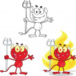 Stock Photo: Cute Little Red Devil Cartoon Character Collection Set