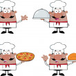 Chef Cartoon Characters 2  Collection Set — Stock Photo