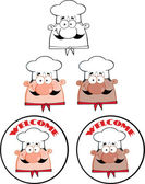 Chef Man Face Cartoon Circle Labels Collection Set — Stock Photo