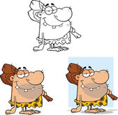 Caveman Cartoon Characters 1 Collection Set — Stock Photo