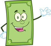 Smiling Dollar Cartoon Character Waving For Greeting — Stock Photo