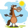 Smiling Horse Cartoon Character With Open Arms Over Landscape — Foto Stock