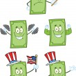 Dollar Bill Cartoon Characters 2 Collection Set — Stock Photo #34087409