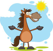 Smiling Horse Cartoon Character With Open Arms Over Landscape — Stock Photo