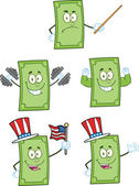 Dollar Bill Cartoon Characters 2 Collection Set — Stock Photo
