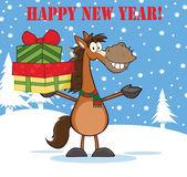 Auguri di felice anno nuovo con carattere di cavallo tenuta su una pila di doni — Foto Stock