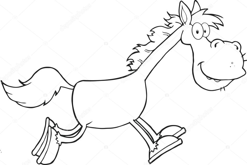 Cartoon Characters In Black And White : Black and white horse cartoon character running — stock