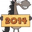 Stock Photo: Grey Horse Cartoon