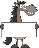 Grey Horse Cartoon Mascot Character — Stock Photo