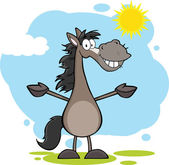 Smiling Grey Horse Cartoon Mascot — Stock Photo