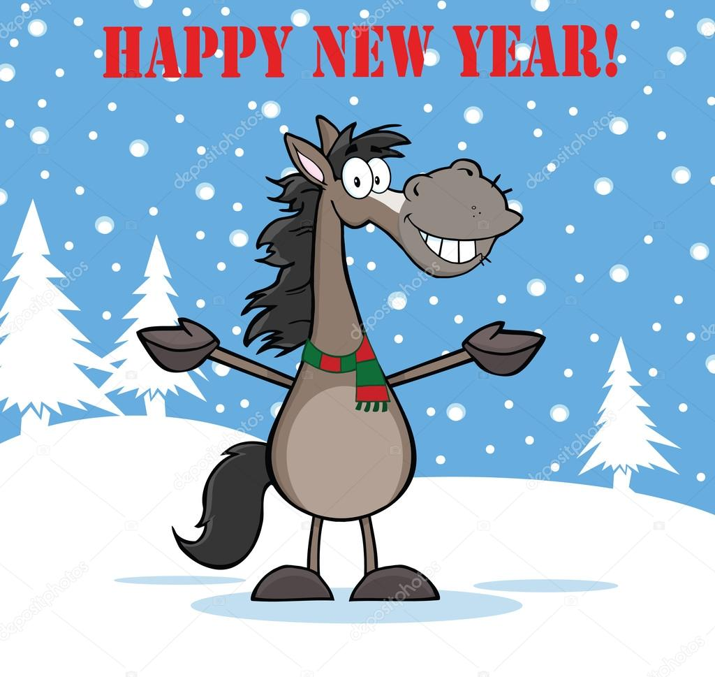 Happy New Year Greeting With Smiling Grey Horse Cartoon — Stock Photo © HitTo...