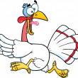 White Turkey Escape Cartoon Character — Stock Photo