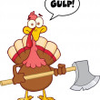 Turkey With Ax Cartoon Character And Speech Bubble — Stock Photo