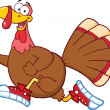 Happy Turkey Bird Character Jogging — Stockfoto