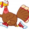 Happy Turkey Bird Character Jogging — Stock Photo