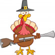 Pilgrim Turkey Bird Character With A Musket — Stock Photo