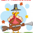 Happy Thanksgiving Greeting With Turkey With Pilgrim Hat And Axe — Stock Photo #34391709