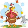 Turkey With Ax Cartoon Character — Foto Stock #34395485