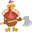 Turkey With Ax Cartoon Mascot Character — Stock Photo