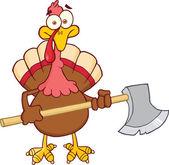 Turkey With Ax Cartoon Mascot Character — Stock Photo