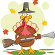 Stock Photo: Pilgrim Turkey Bird Cartoon Character With A Musket