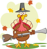 Pilgrim Turkey Bird Cartoon Character With A Musket — Stock Photo