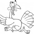 Black and White Turkey Escape Cartoon Character — Stock Photo