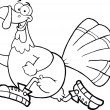 Black and White Happy Turkey Bird Character Jogging — Stock Photo