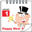 Happy New Year Calendar With New Year Baby — Stock Photo #34893441