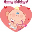 Stock Photo: Happy Holidays Greeting With Cute Baby Cupid Flying With Bow And Arrow