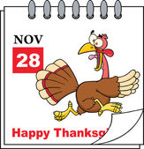 Thanksgiving Holiday Calendar With Cartoon Turkey Escape — Stok fotoğraf