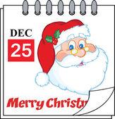 Christmas Holiday Calendar With Classic Santa Claus Head — Stock Photo