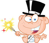 New Year Baby Cartoon Character — Stock Photo