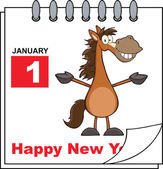 Happy New Year Calendar With Open Arms Smiling Horse — Stock Photo