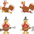 Turkey Birds Cartoon Characters 1 Collection Set — Stock Photo