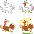 Turkey Escape Cartoon Character  Collection Set — Stock Photo